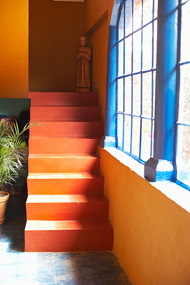 Two-Colored Stairs & Blue Window Contrast